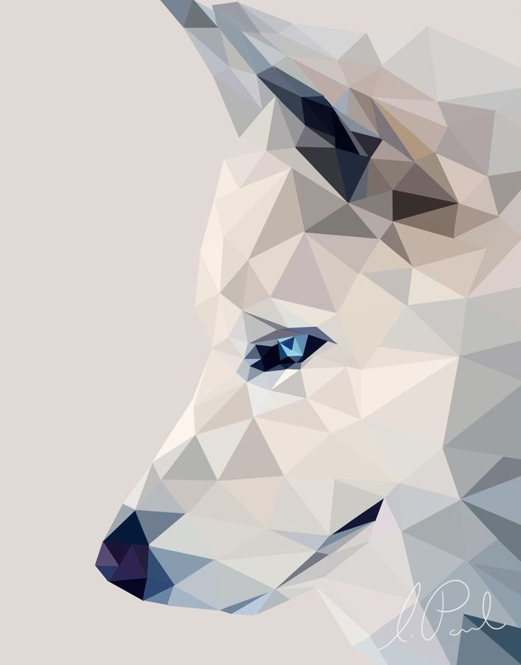 Картинка волка из геометрических фигур розовые писи