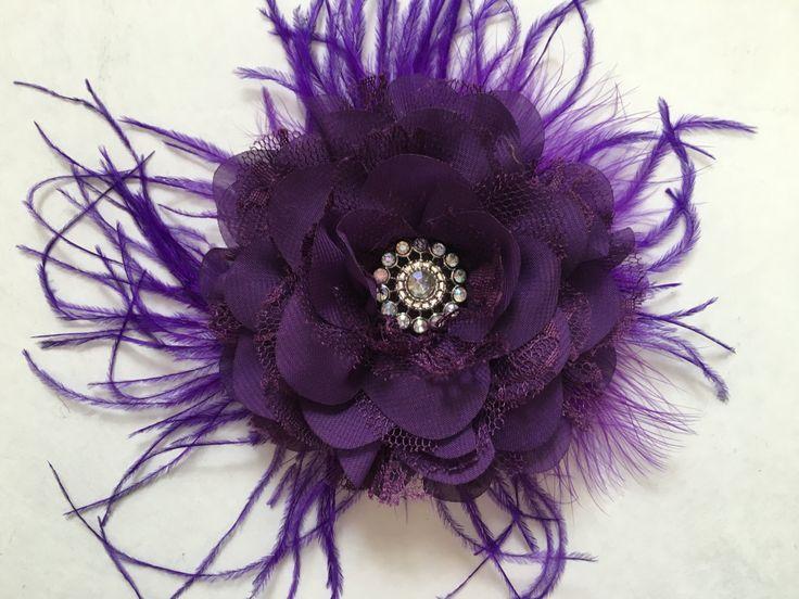 Plum Purple Chiffon Lace Flower Feather Fascinator, Dance Competition Hair Bows, Wedding, Bridal Hair Clip.Fancy Girl Boutique Custom