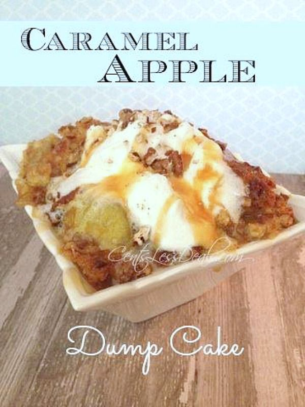 Caramel Apple Dump cake recipe with only 4 ingredients! This was super easy to make and the hubs thought I slaved all day to make this for him. It was a huge hit with even my picky kids and took literally a minute to throw together!! I'm definitely making this again soon!