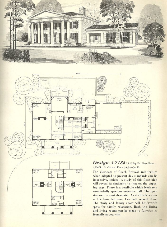 Old fashioned style house plans for Vintage floor plans