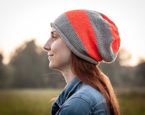 Orange-Grey Striped Slouchy Beanie Hat for Women by RUKAMIshop