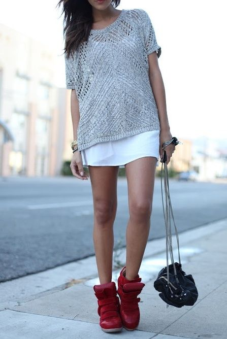 High-top wedge sneakers + oversized crochet sweater + mini skirt  |  One day I will figure out a way to pull off this look...