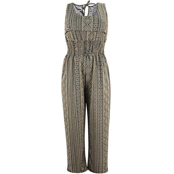 Taupe Aztec Tribal Print Summer Jumpsuit ($35) ❤ liked on Polyvore featuring jumpsuits, pants, taupe, summer jumpsuits, aztec jumpsuit, brown jumpsuit, tribal jumpsuit and sleeveless jumpsuit
