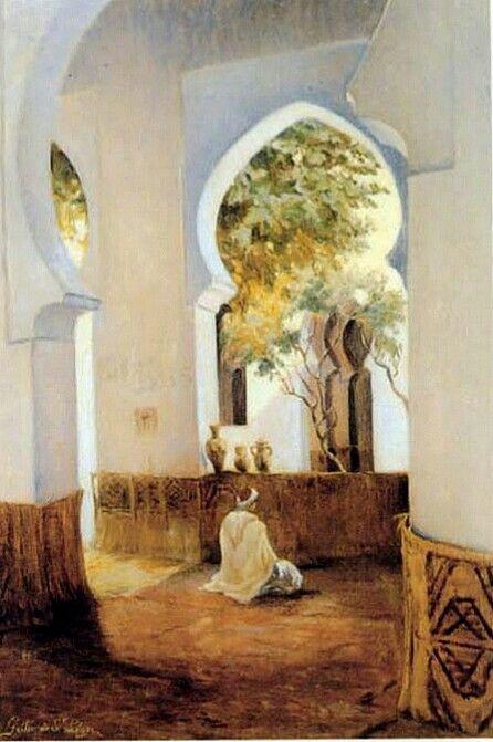 Peinture d'Algérie - Peintre Français, Leon Geille de Saint Leger, (1864-1937), Huile sur toile, Titre : En prière.