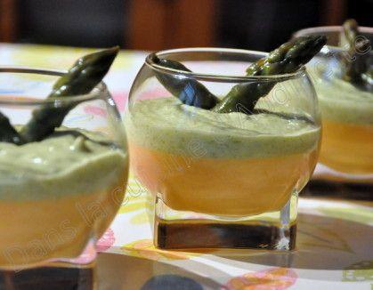 Verrine panna cotta chorizo crème d'asperge