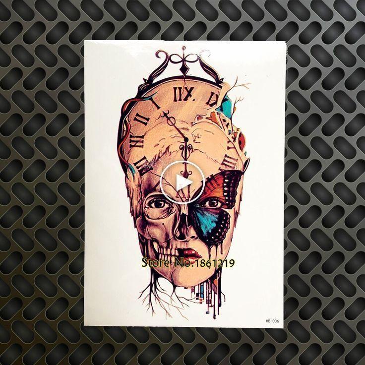 DIY Body Art Temporary Tattoo Women Skull Clock Head Butterfly Tatoo Paste For M…