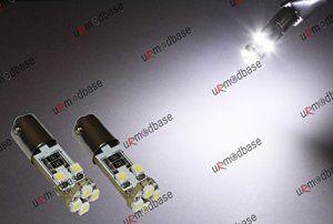 BAX9S Lot de 2 ampoules LED Can Bus anti-erreur HID à baïonnette Blanc H6W 12V