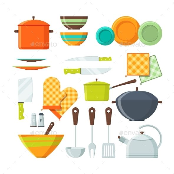 Bowl Fork And Other Kitchen Tools In Cartoon Kitchen Tools