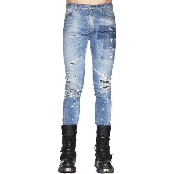 Jeans ($360) ❤ liked on Polyvore featuring men's fashion, men's clothing, men's jeans, light blue, mens torn jeans, mens destroyed jeans, mens light blue jeans, mens ripped jeans and mens distressed denim jeans