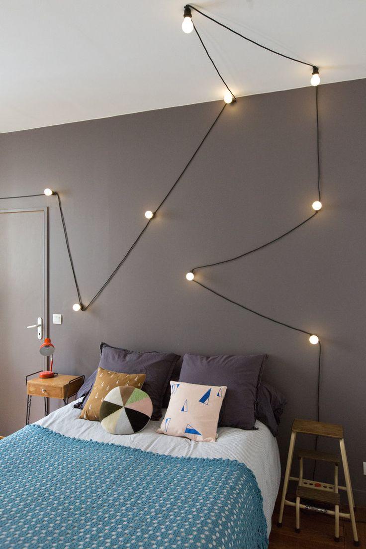 Inspirational String Light Headboard