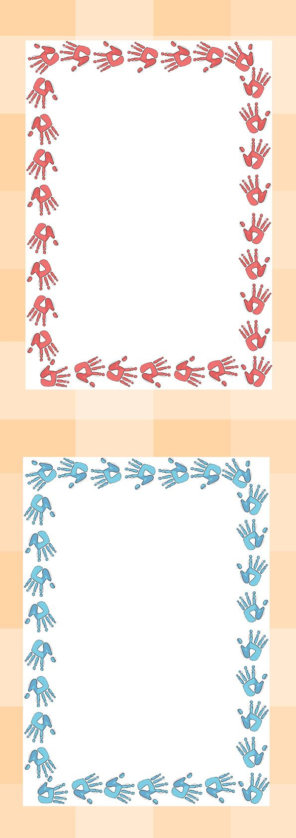 Twinkl Resources >> Handprint Page Borders >> Thousands of printable primary teaching resources for EYFS, KS1, KS2 and beyond! page border, border, writing template, writing aid, handprint, footprint, all about me, ourselves, foot, print, hand,