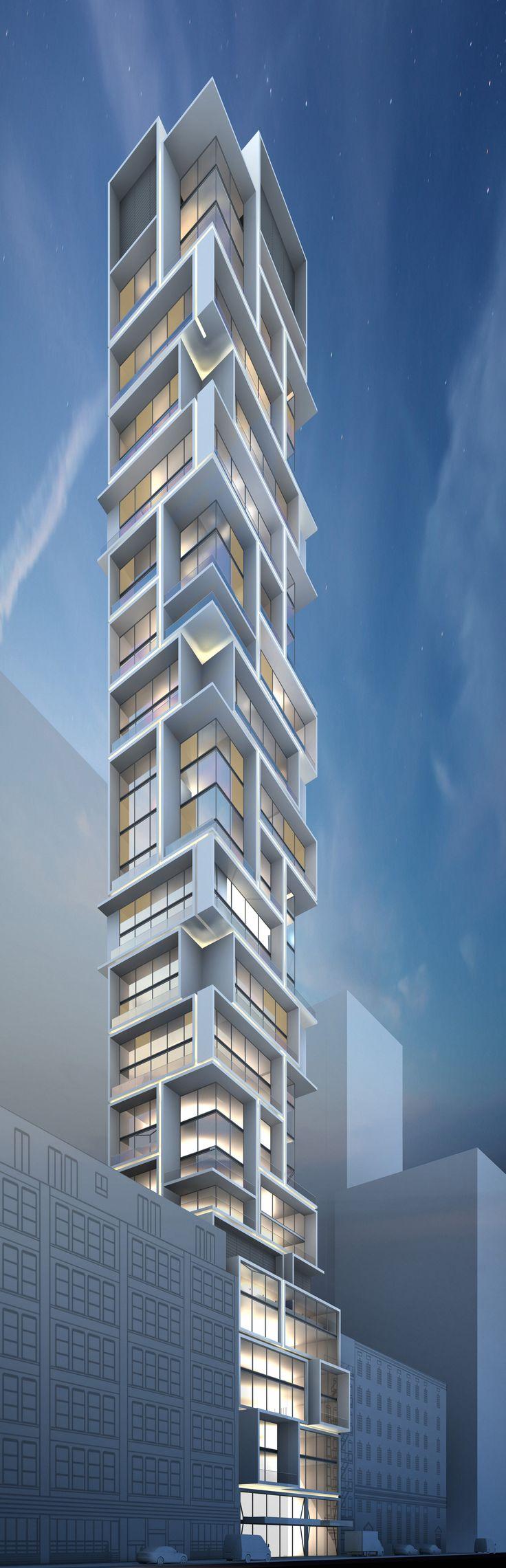DBRDS - Design progress rendering for a new Multi-Family residential tower in Manhattan, New York