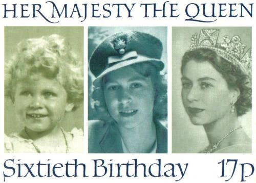 Postcard commemorating the sixtieth birthday of Queen Elizabeth II. Believe it or not: sent to the United Kingdom.