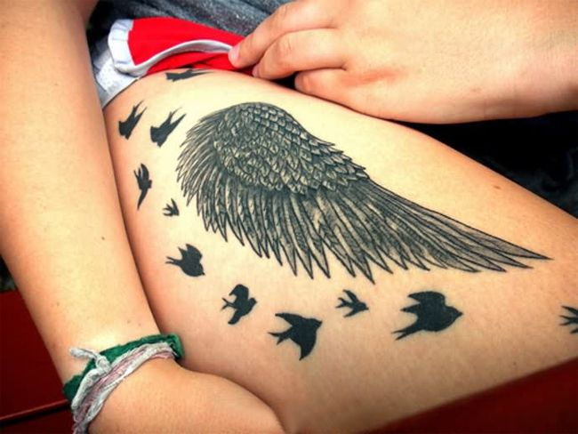 Best Thigh Angel Wing Tattoo Designs for Women