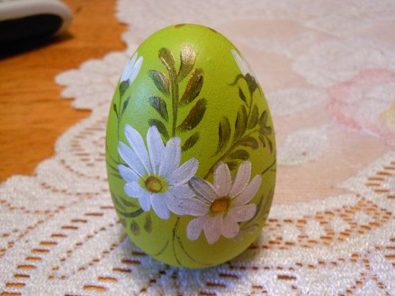 Hand Painted Easter Egg Wood by downhomestuff on Etsy, $4.50