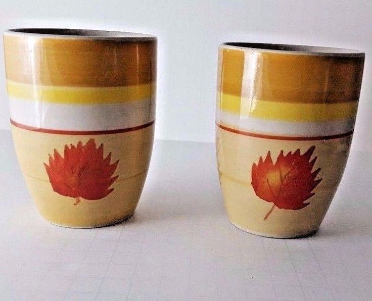 Coffee Mugs Set Of 2 Ceramic Stoneware Cups Golden Leaves Hand Painted  #Unbranded