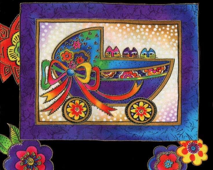Laurel Burch cat fabric patch, cats in baby stroller