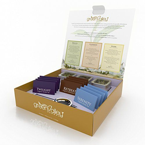 Tea Gift Basket Sample Box  Gourmet Teas Like Youve Never Tasted Before  Organic Whole Leaf Tins  Bags  6 Assorted Teas Including Green Jasmine Flower  Rooibos  Infuser Included  Colorado Made *** Want additional info? Click on the image.