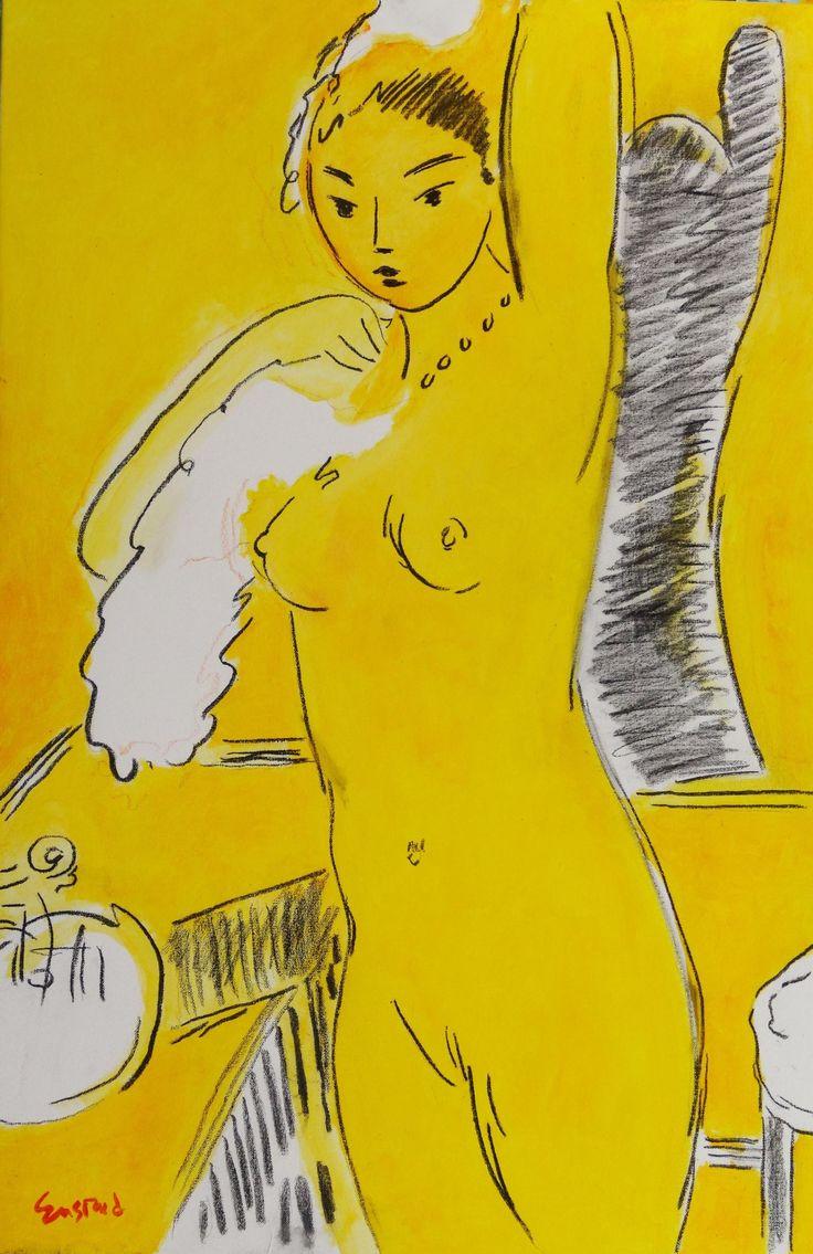 "Yellow Nude, acrylic on canvas, 36"" x 24"", $8,500, http://transformgallery.com/wayne-ensrud/"