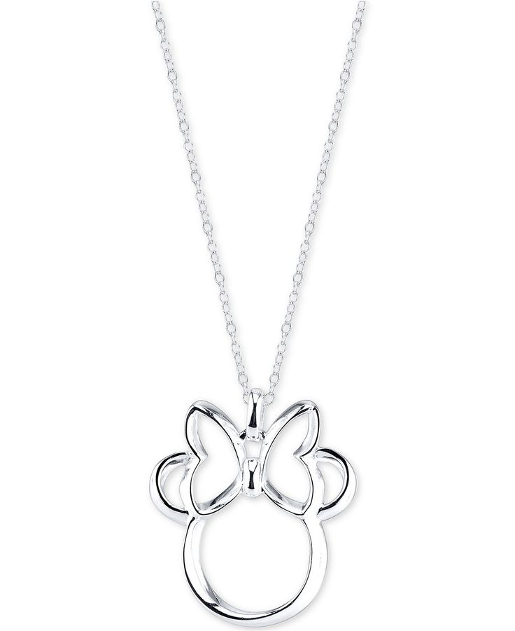 Disney Minnie Mouse Pendant Necklace in Sterling Silver - Necklaces - Jewelry & Watches - Macy's