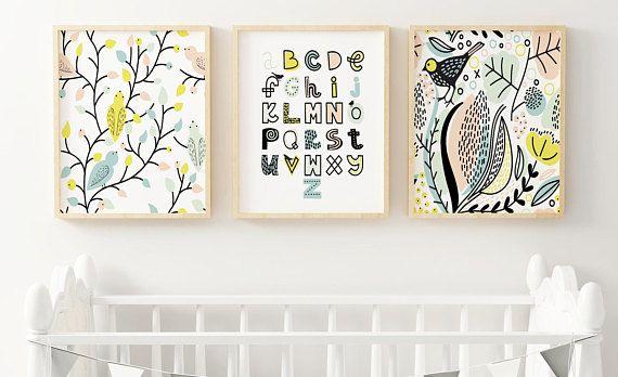 Bekijk dit items in mijn Etsy shop https://www.etsy.com/nl/listing/526416056/vogels-en-alfabet-wordt-afgedrukt