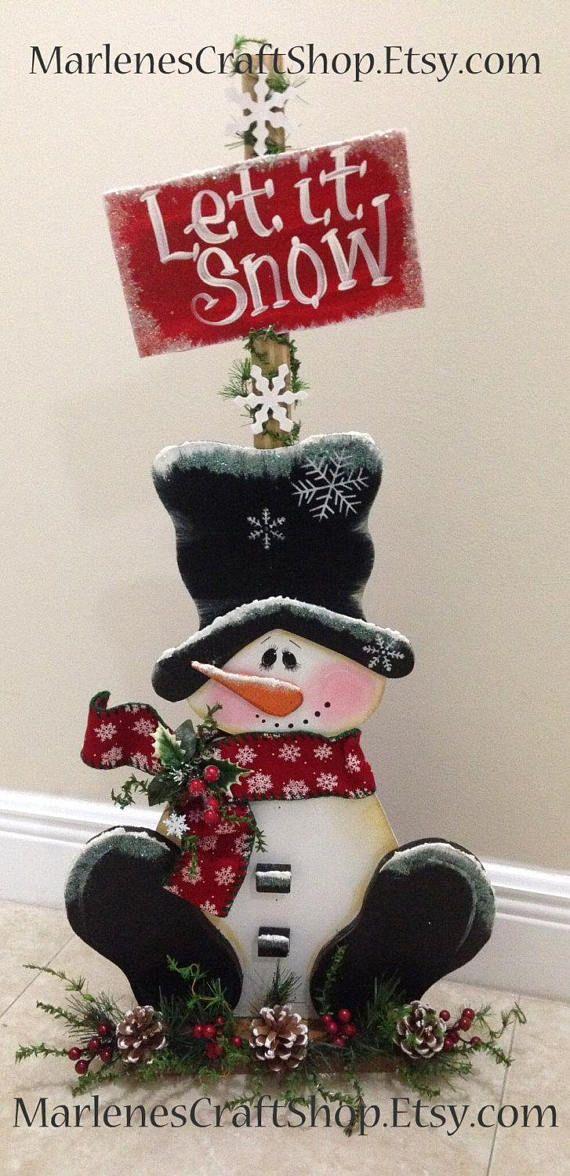 Snowman decoration let it snow snowman sign Snowman