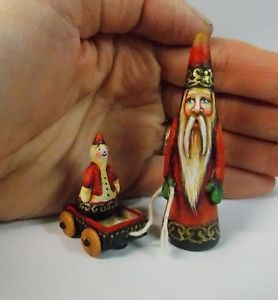Santa Claus Folk Art Primitive Miniature Doll Dollhouse Snowman Pennsylvania Dutch Style Inspired