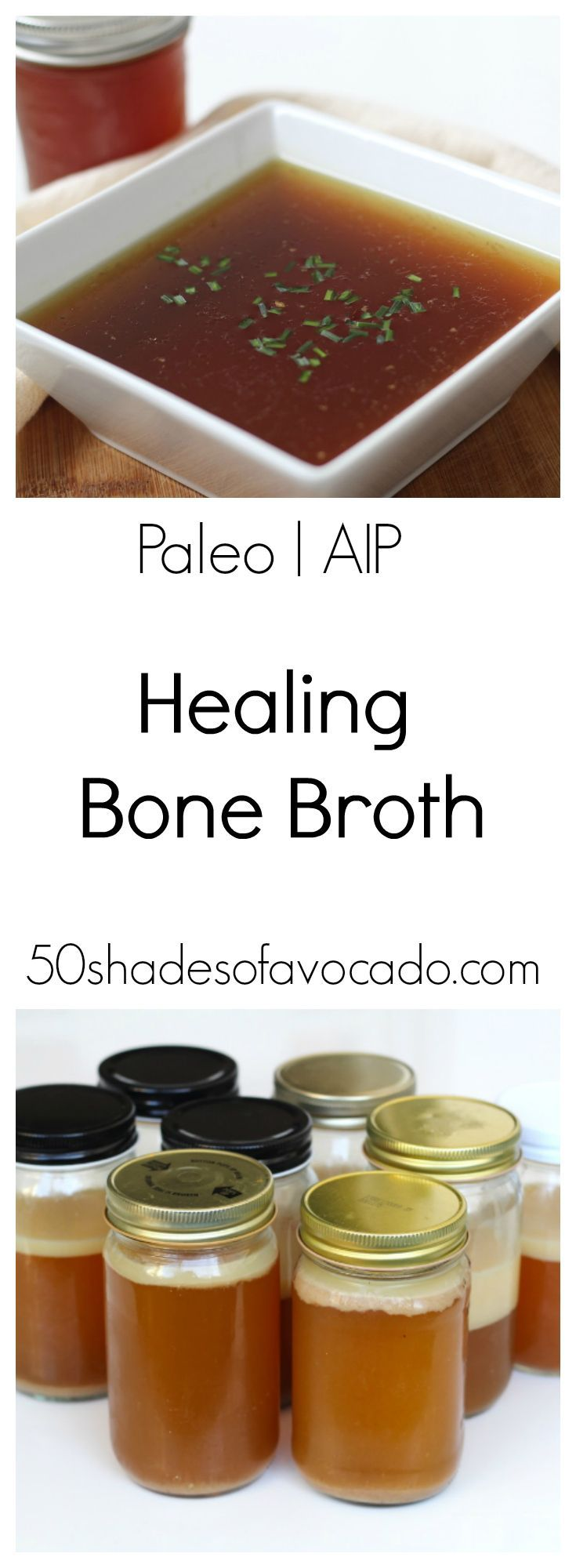 This simple healing chicken bone broth recipe is packed with gut healing nutrients and is a great base for soups and sauces.