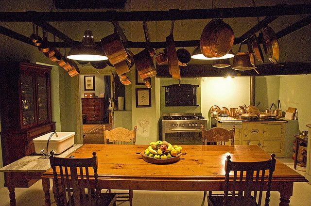 Pots and pans hang from the ceiling in the kitchen of Hawksmoor House, a wonderful Cape Dutch country inn near Cape Town, South Africa, is about 12 km from Stellenbosch in the South African wine country, located on Matjieskuil Farm. May, 2008 (c) 2008 Tom Kelly
