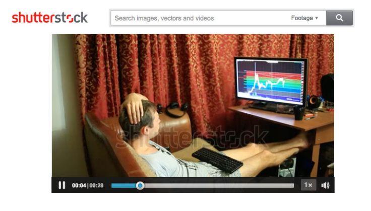 Shutterstock has weird stock videos showing a Bitcoin trader in his undies