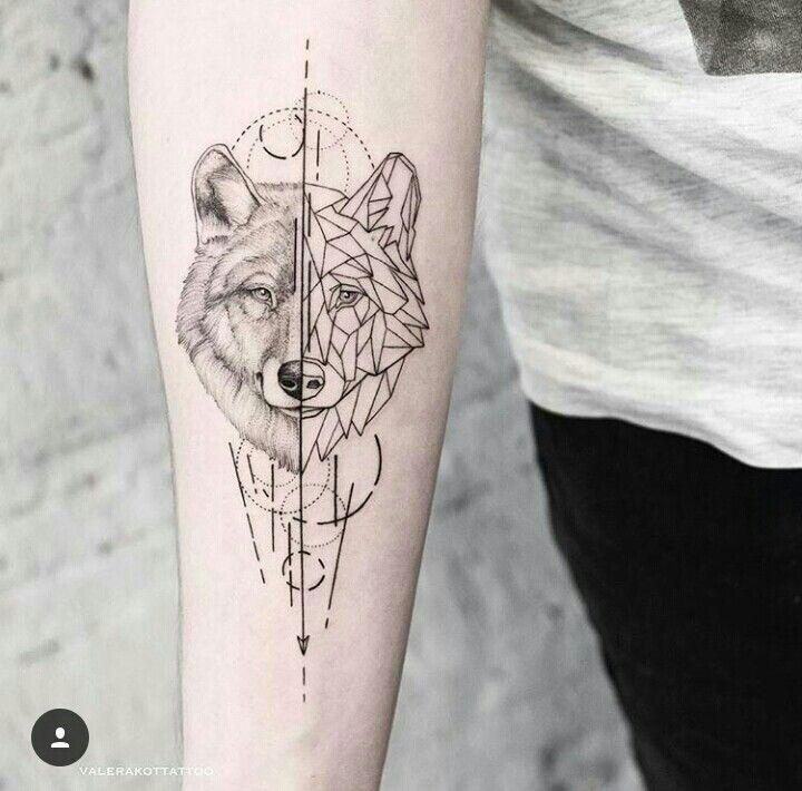 23 Tatuaje geometrico lobo