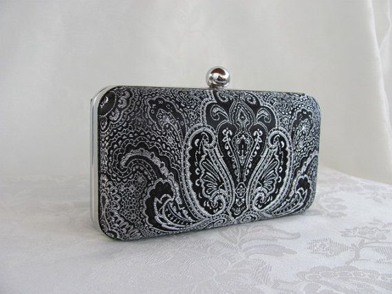 NEW Silver &  Black damask  Clamshell  clutch with by jemdesign567, $40.00