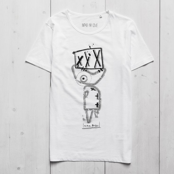 Men's Printed T-shirt white organic cotton Fish Ariarosso #tee #men #graphictee