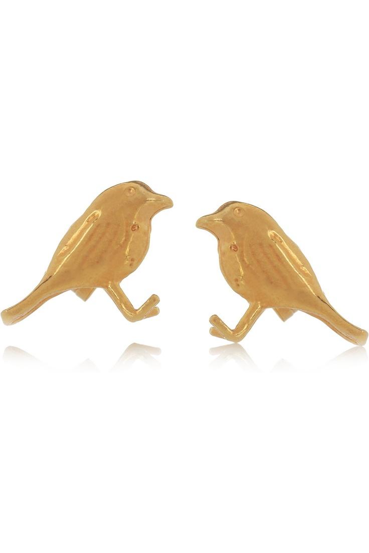 Alex Monroe|22-karat gold-plated bird earrings|NET-A-PORTER.COM