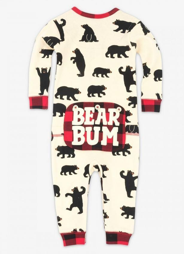 eac78f74d Black Bear and Buffalo Plaid Bear Bum Family Matching Onesies ...