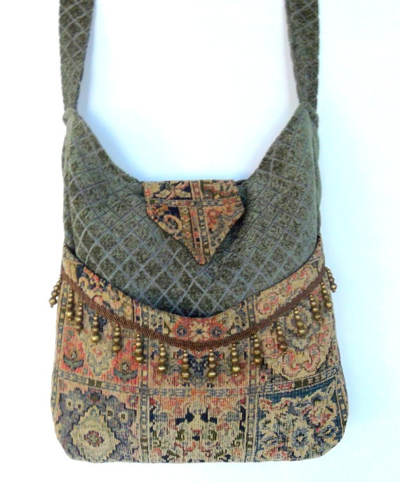 Tapestry Gypsy Bag Brass Bead Fringe Messenger by piperscrossing, $58.00