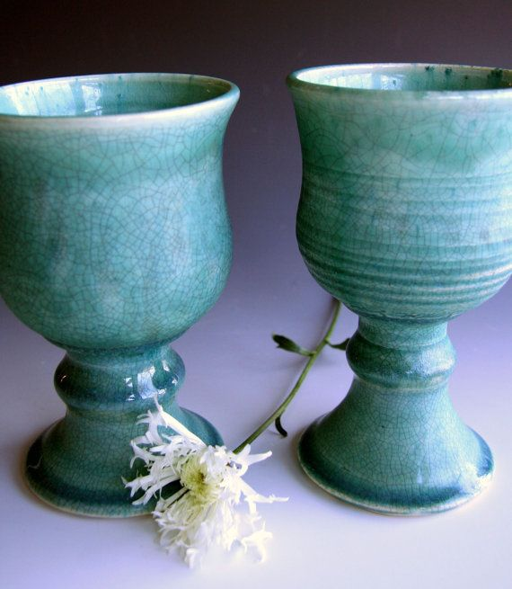 Ready to ship Handmade set of wine goblets in white crackle or blue crackle, Stoneware wine goblets
