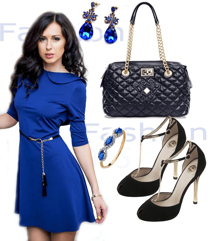 Короткое синее платье с черной сумкой, черными туфлями с Т-образным ремешком и украшениями из золота