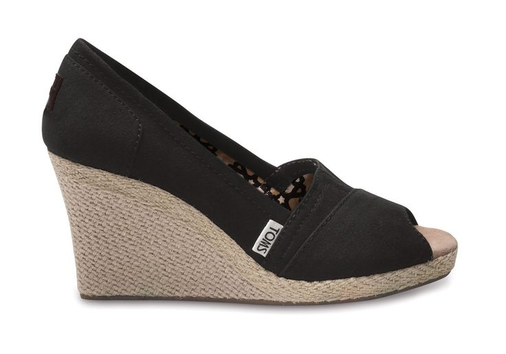 Toms Classic Wedge - Black Canvas I am in love!!