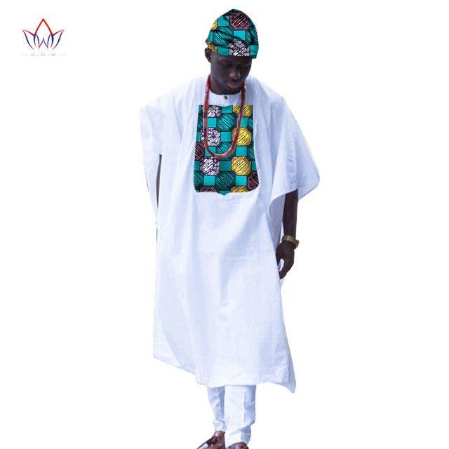 BRW New African Clothes for Men Dashiki Print Print Tailored Long Men Loose Plus Size Robe Traditional African Clothing WYN309
