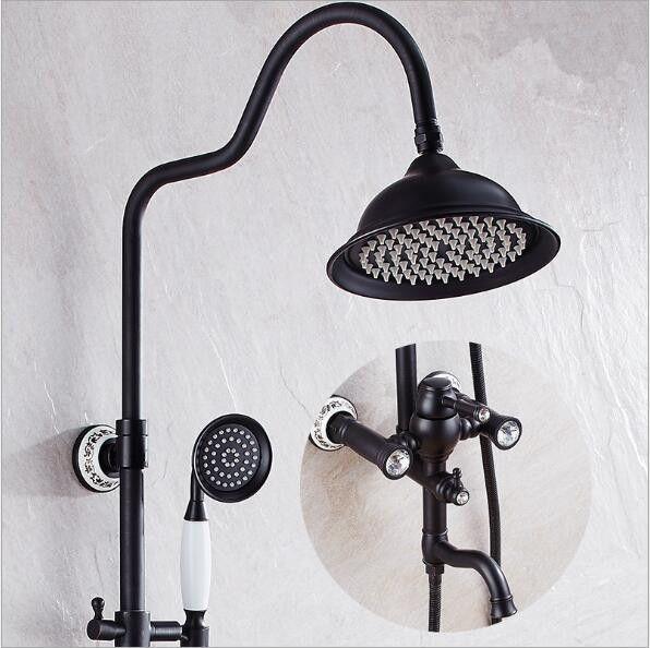 Antique Black Bathroom Shower Faucet Set Single Ceramic Handle Bath and Shower Faucet