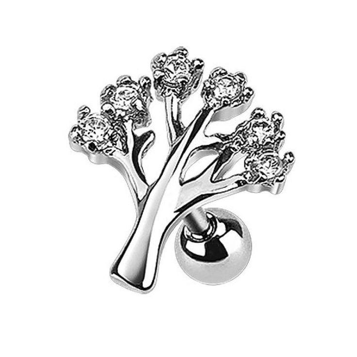 Tragus Piercing Ohr Schmuck Lebensbaum Kristalle
