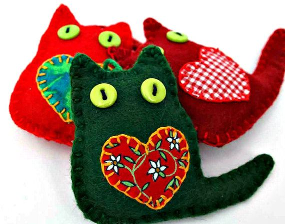 Cat Christmas ornaments Felt Christmas by PuffinPatchwork on Etsy                                                                                                                                                                                 More