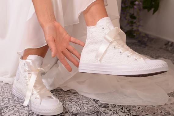 Ivory Wedding Converse High Top Custom