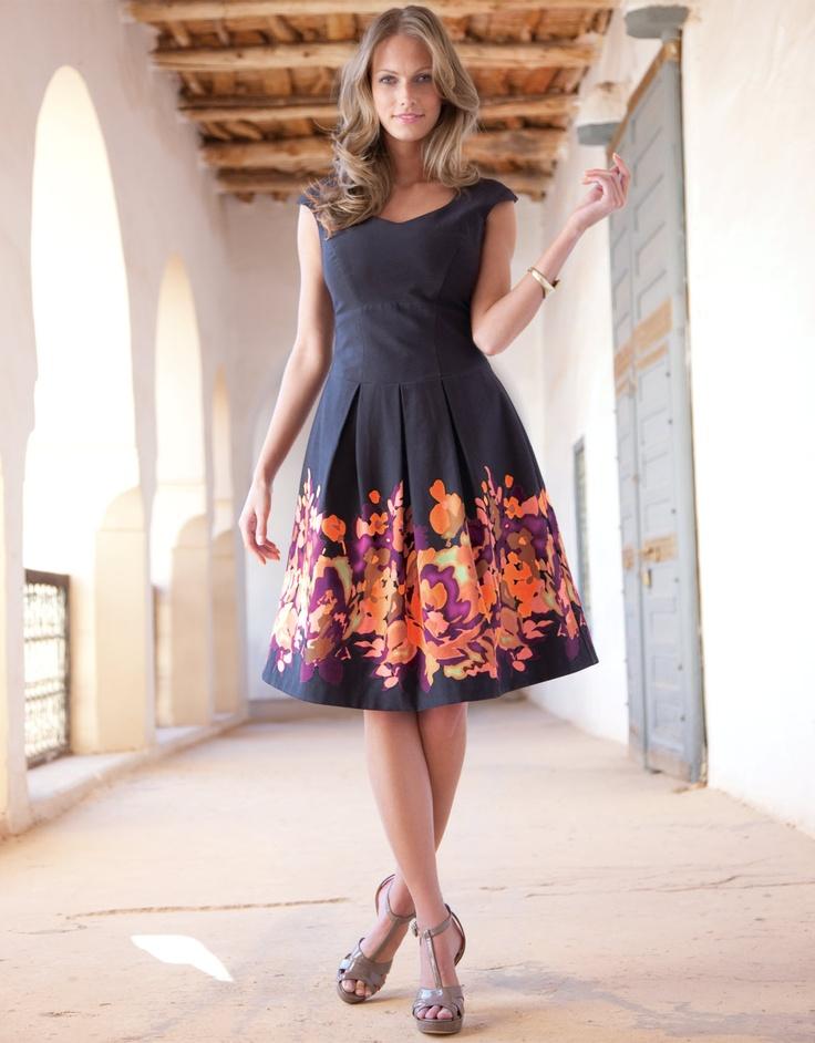 Border Print Full Skirt Dress - Pepperberry. Like border print, fitted bodice, sweet heart neck and full skirt/w pleats.