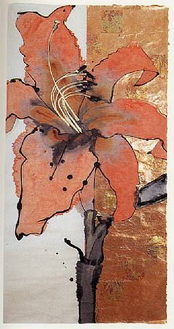 Artist: Robert Kushner Title: Day Lily Medium: Ink, acrylic, and metal leaf on handmade Japanese paper