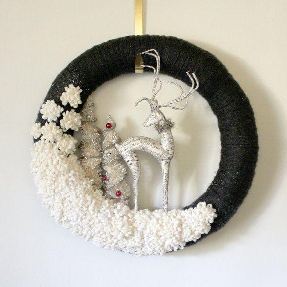 Deer Wreath Reindeer Wreath Holiday Wreath by TheBakersDaughter, $75.00