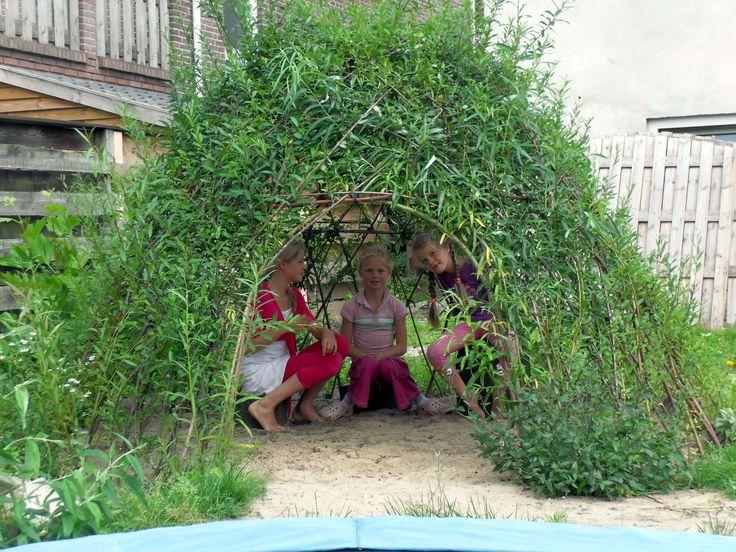 Wilgenhut! Maak van snoeiafval van knotwilgen een levende hut of tunnel. Aanplanten tussen november en eind februari.