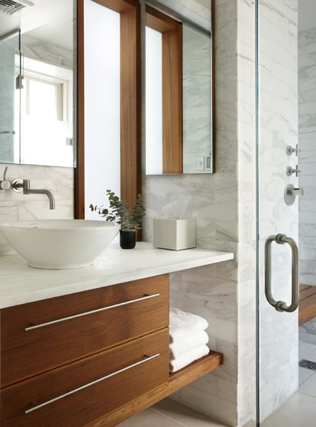 Wood + marble in bathroom design by CWB Architects