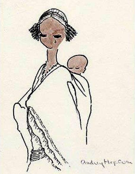 Desenho feito por Audrey inspirado em uma mãe etíope e sua criança. A imagem foi usada como cartão pelo UNICEF